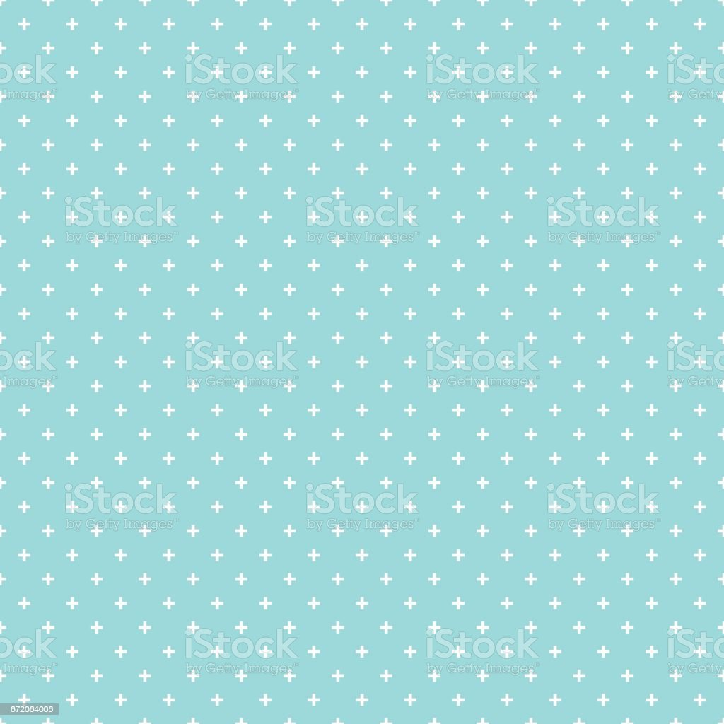 Cross pattern seamless white on green aqua color background. Cross abstract background vector. vector art illustration
