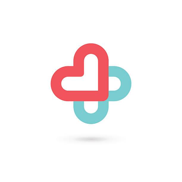 illustrazioni stock, clip art, cartoni animati e icone di tendenza di croce di cuore con icone mediche modello elementi di design - croce farmacia