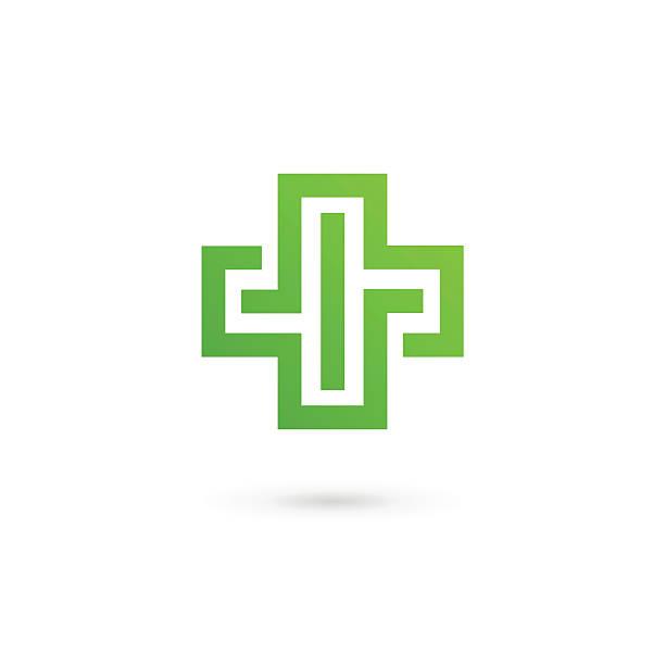 illustrazioni stock, clip art, cartoni animati e icone di tendenza di croce con icone mediche modello elementi di design - croce farmacia