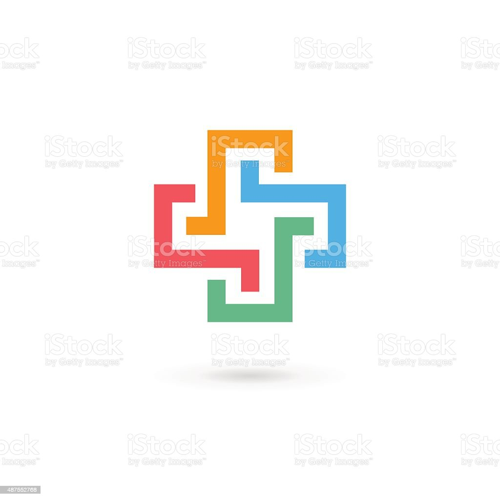 Cross plus medical icon design template elements vector art illustration