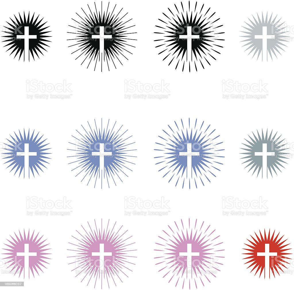 Cross Radiating Light royalty-free cross radiating light stock vector art & more images of celebration event