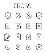 Cross related vector icon set.