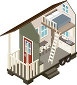 A cross section view of a two story loft style 'tiny house'