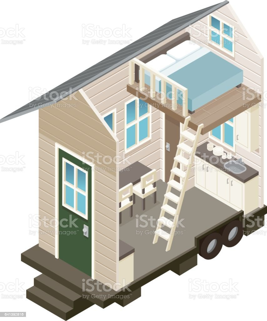 Cross Section View Of A Tiny House Royalty Free Stock Vector Art