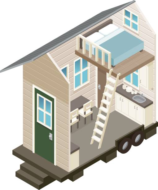 Cross Section View of a Tiny House A cross section view of a two story loft style 'tiny house' dollhouse stock illustrations