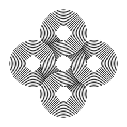 Cross sign made of four connected rings composed of interwoven metal wires. Modern stylization of Bowen knot symbol.