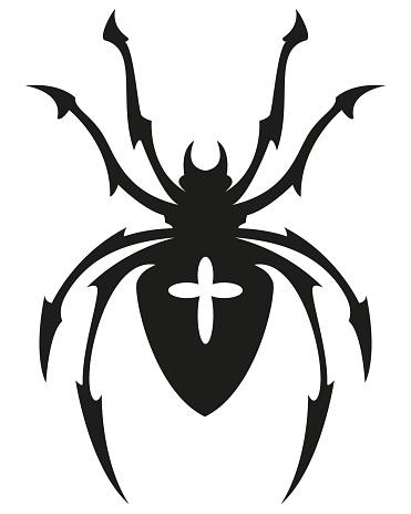 cross spider shape symbol - black and white vector tattoo illustration