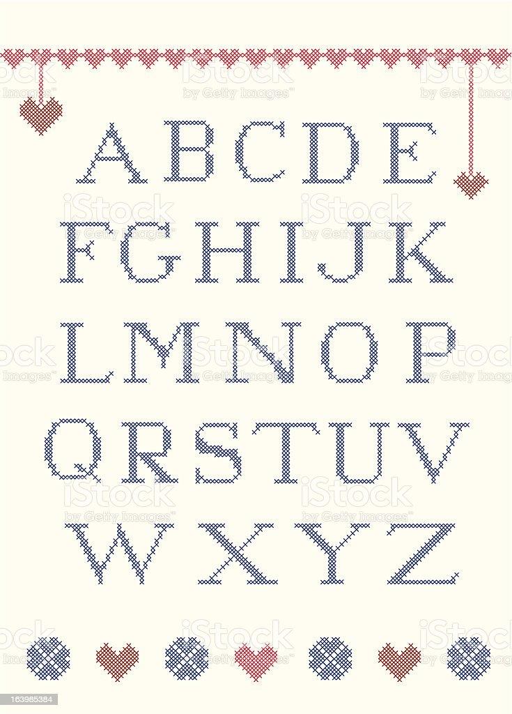 Cross stitch alphabet royalty-free stock vector art