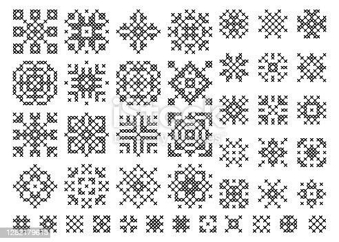 Cross stitch snowflake. Embroidery set of christmas elements. Holiday cross-stitch vector . Ethnic scandinavian or slavic pattern.