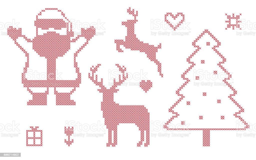 Ilustración de Punto De Cruz Símbolos De Navidad y más banco de ...
