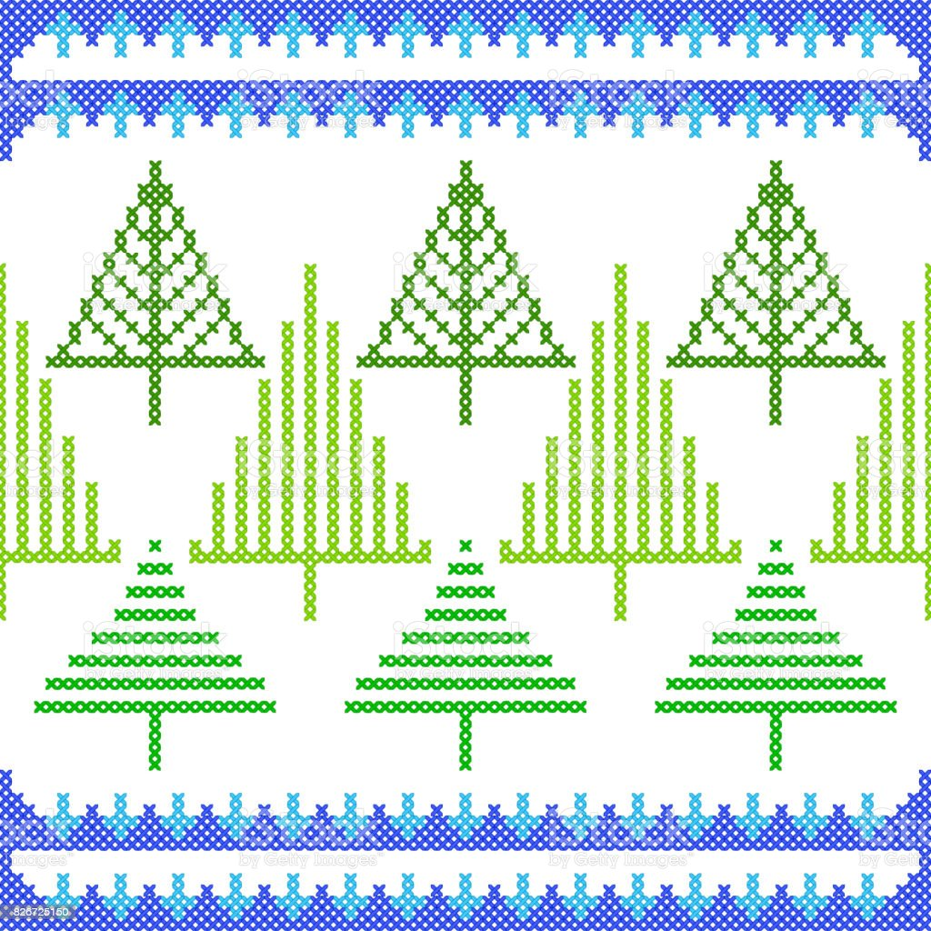 Ilustración de Cruz Diseño De Puntada Del Bordado Navidad Para ...