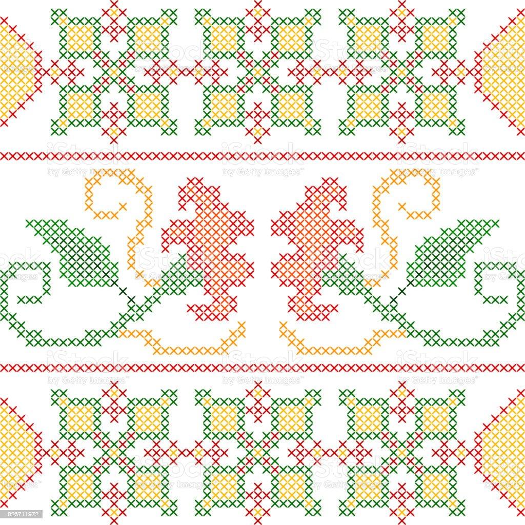 Ilustración de Cruz De Diseño Floral Bordado De La Puntada Para ...