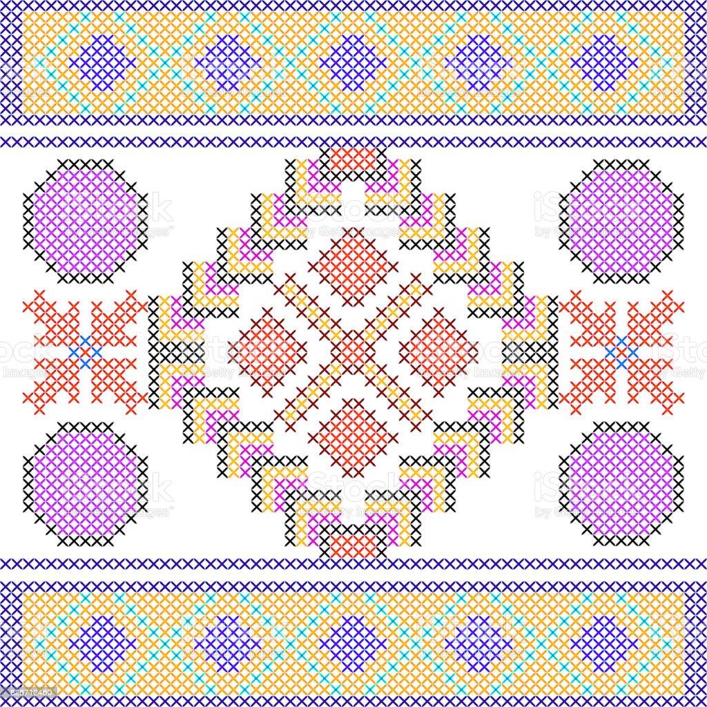 Ilustración de Cross Stitch Bordado Geométrico Diseño Textura ...