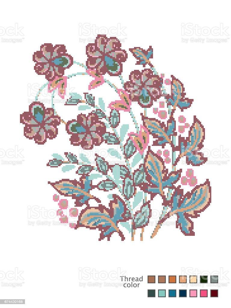 Ilustracion De Flores Punto De Cruz Plantilla Confeccionada Para