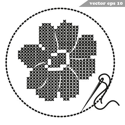 Cross Stitch Hand Made Black Cosmos Flower On White Background Stock Illustration Download Image Now Istock