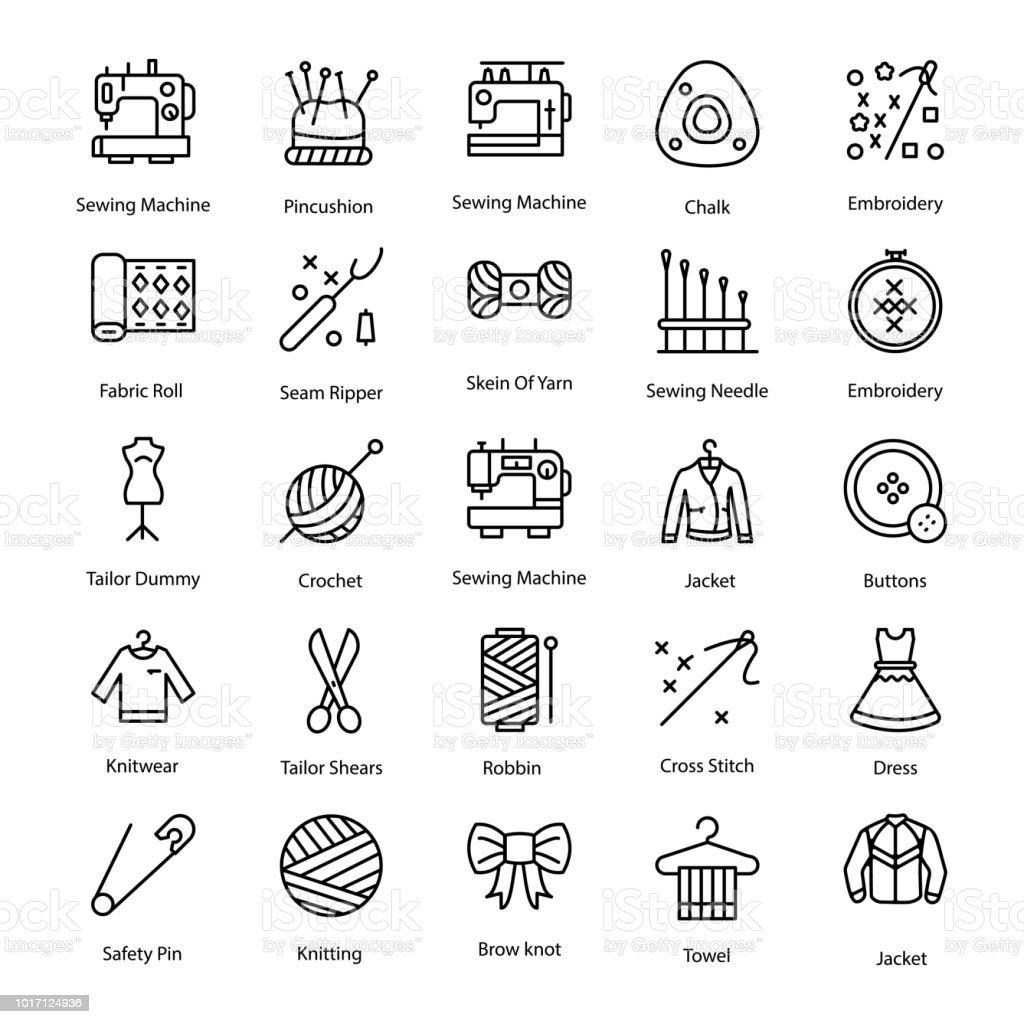 Cross Stitch Line Icons Set Stock Illustration - Download