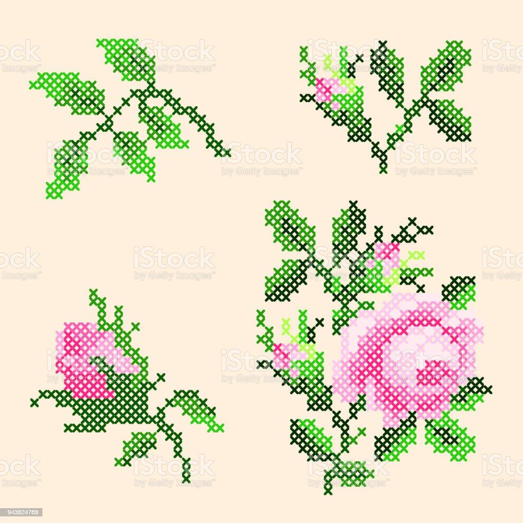 Ilustración de Punto De Cruz Rosas y más banco de imágenes de ...