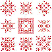 Cross stitch snowflakes pattern, Scandinavian