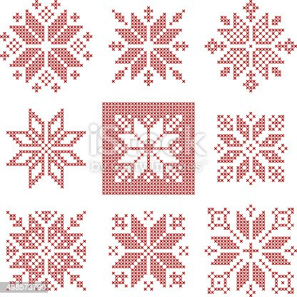 Cross Stitch Snowflakes Pattern Scandinavian Stock Vector Art More