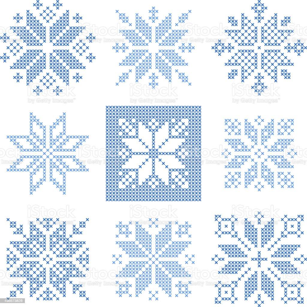 Cruce Punto Snowflakes Patrón De Diseño Escandinavo Illustracion ...