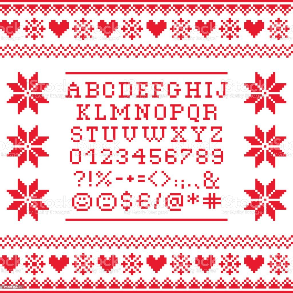 Cross Stitch Uppercase Alphabet With Numbers And Symbols Pattern
