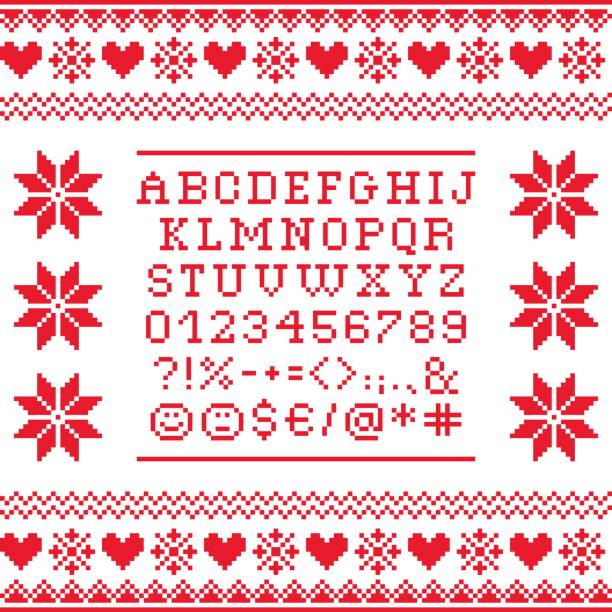Cross stitch uppercase alphabet with numbers and symbols pattern, embroidery design Embroided red letters on white background, vector font collection alphabet backgrounds stock illustrations