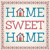 Cross Stitched Home Sweet Home Decoration With Border Design