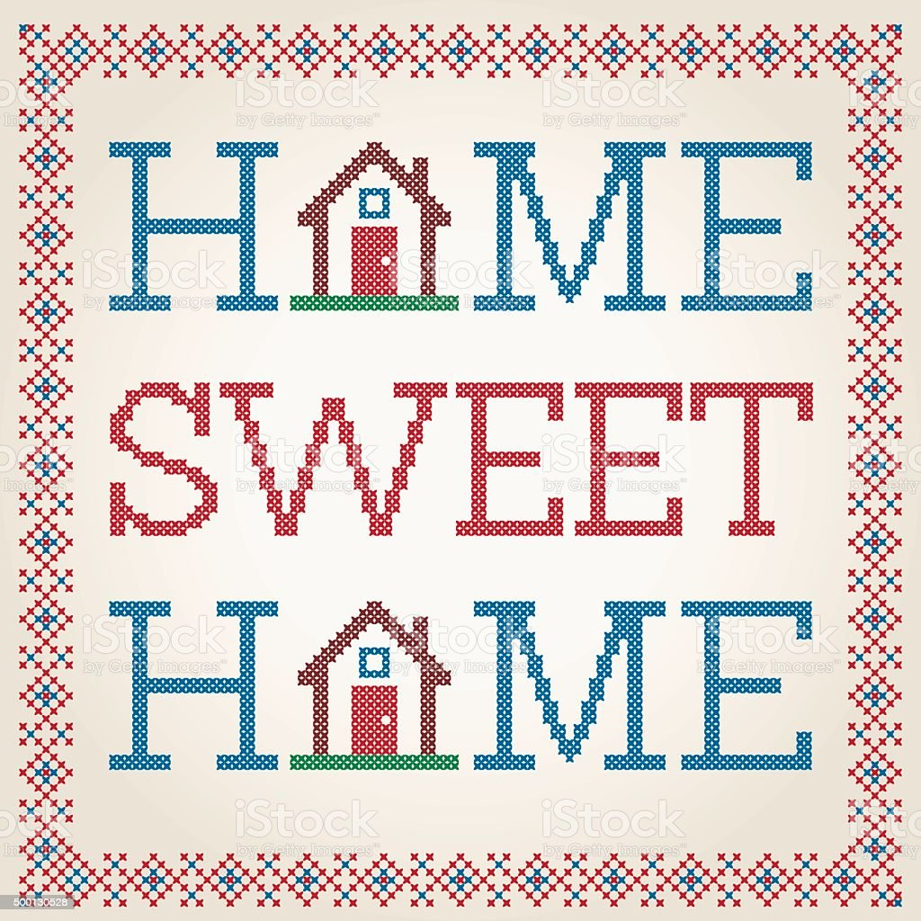 Cross Stitched Home Sweet Home Decoration With Border Design Vector Art  Illustration