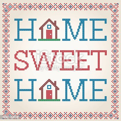 Cross Stitched Home Sweet Home Decoration With Border