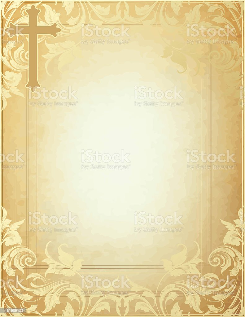 Cross Swirl Parchment with scrollwork royalty-free stock vector art