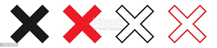 istock Cross symbol collection on white background. Black and red wrong sign. X icon in bold and outline design. Reject and cancel vector illustration. Error pictogram. Re cross. EPS 10. 1284755392