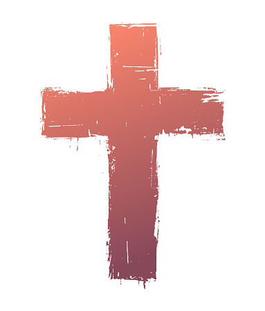 Grunge cross symbol. Colors are easily changed.