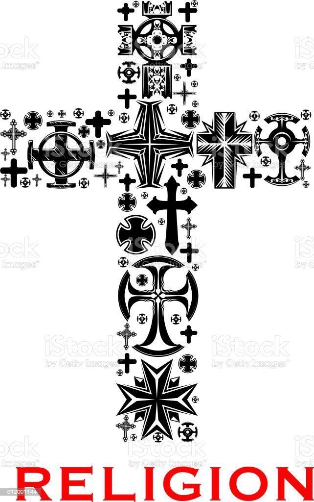 Cross With Christian And Celt Religious Symbols Stock Vector Art