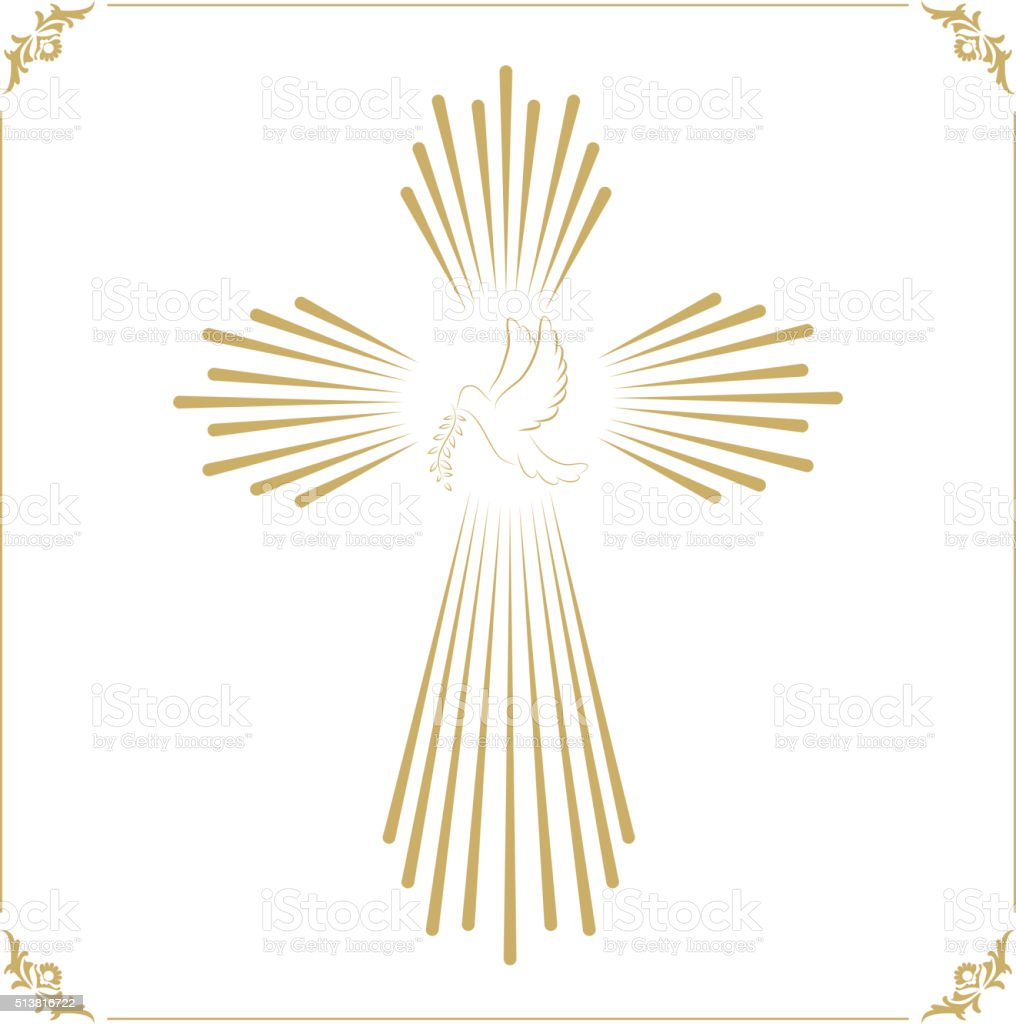 Cross with the dove. Church emblem template. Vector design eleme vector art illustration