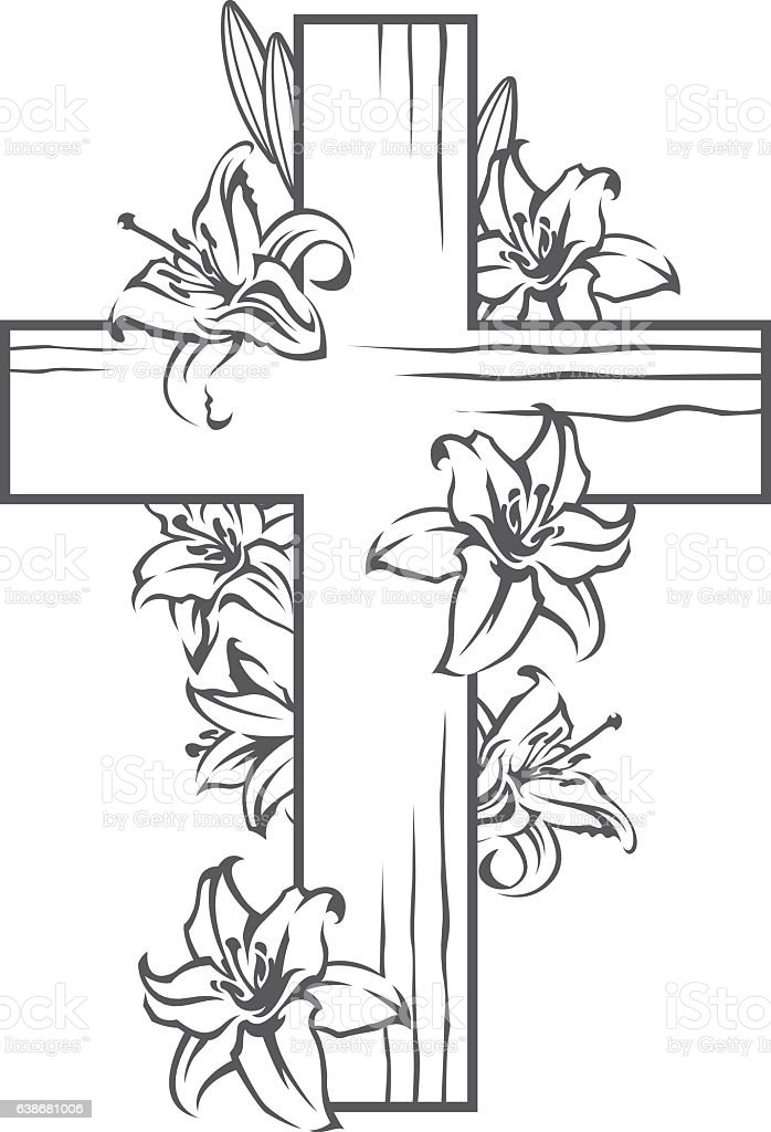 cross with white lilies vector art illustration