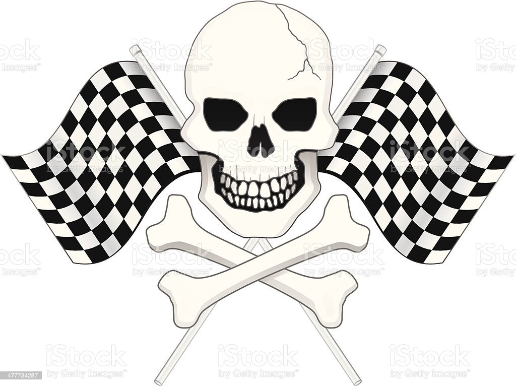 Crossbones and Checkered Flag royalty-free stock vector art