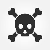 Crossbones or death skull, danger or poisonous icon for applications and websites. Vector