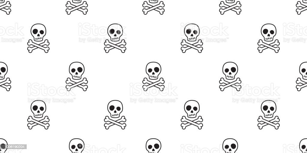 a91c28e60f00 Crossbones seamless Halloween vector skull pattern bone Ghost poison tile  background scarf isolated repeat wallpaper royalty