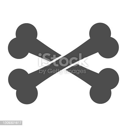 istock Crossbones solid icon. Two crossed bones. Halloween party vector design concept, glyph style pictogram on white background. 1209301617
