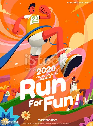 istock Cross-country running event poster 1226331631