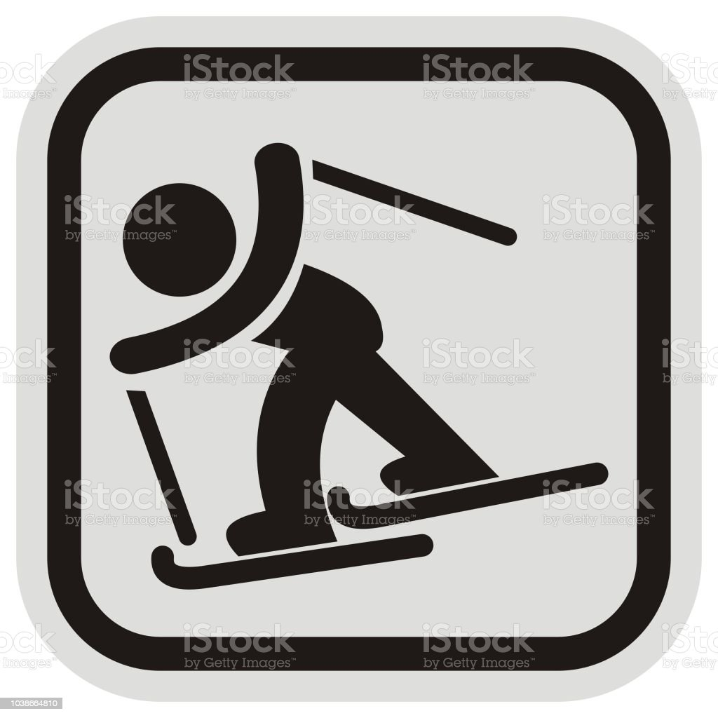 Crosscountry Skier At Gray And Black Frame Stock Vector Art & More ...
