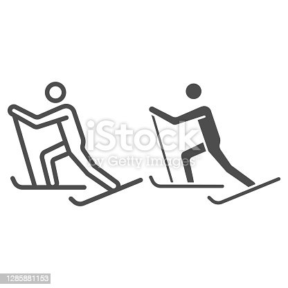 Cross-country skiing line and solid icon, Winter sport concept, skier sign on white background, Cross country skier icon in outline style for mobile concept and web design. Vector graphics
