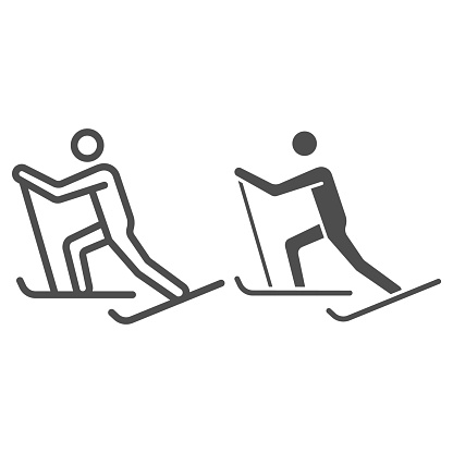 Cross-country skiing line and solid icon, Winter sport concept, skier sign on white background, Cross country skier icon in outline style for mobile concept and web design. Vector graphics.