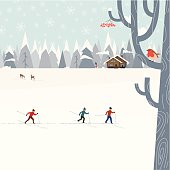 Three men skiing in the forest. Winter landscape with forest, deers, snowman and chalet house. Tree with berries and robin bird at the front.