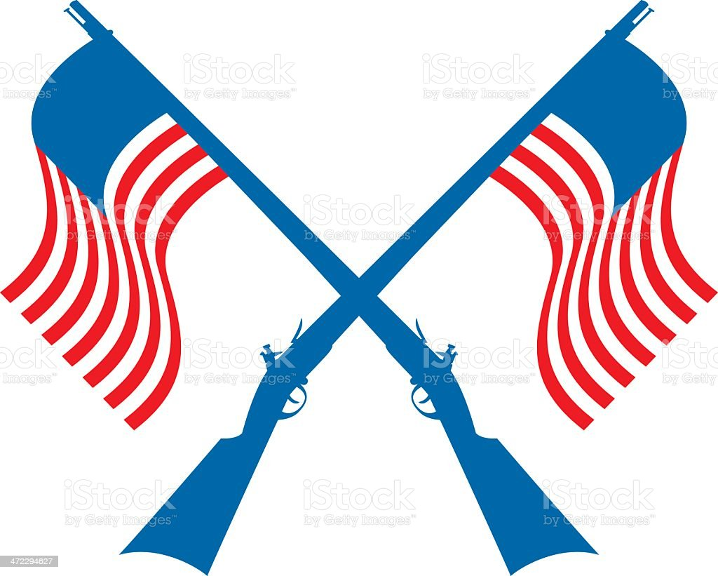 crossed american flag muskets