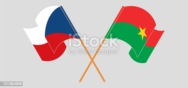 istock Crossed and waving flags of Czech Republic and Burkina Faso 1312804609