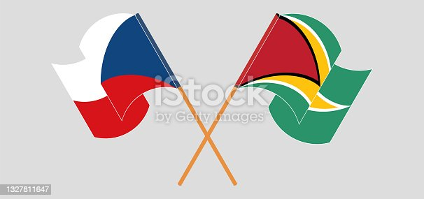 istock Crossed and waving flags of Czech Republic and Guyana 1327811647