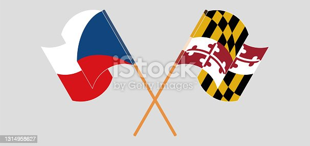 istock Crossed and waving flags of Czech Republic and the State of Maryland 1314958627