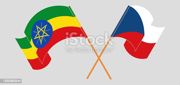istock Crossed and waving flags of Ethiopia and Czech Republic 1330680544
