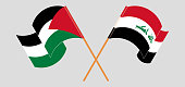 Crossed and waving flags of Iraq and Palestine. Vector illustration